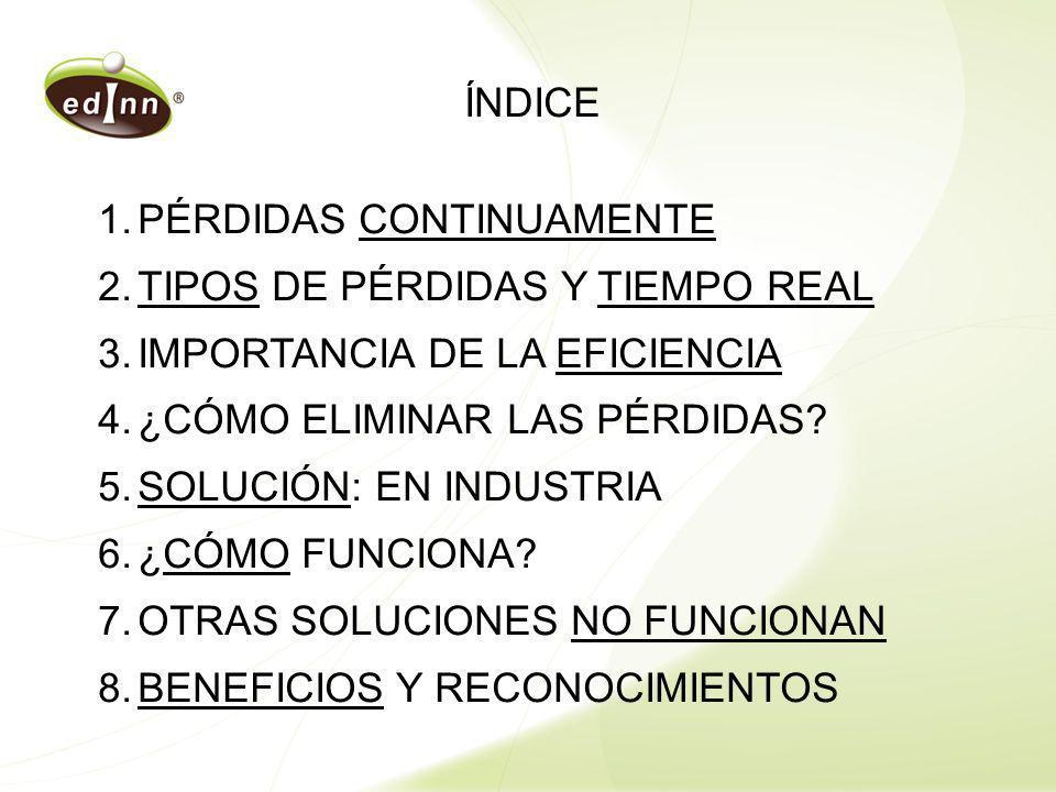 ÍNDICE 1.PÉRDIDAS CONTINUAMENTE 2.TIPOS DE PÉRDIDAS Y TIEMPO REAL 3.IMPORTANCIA DE LA EFICIENCIA 4.¿CÓMO ELIMINAR LAS PÉRDIDAS? 5.SOLUCIÓN: EN INDUSTR