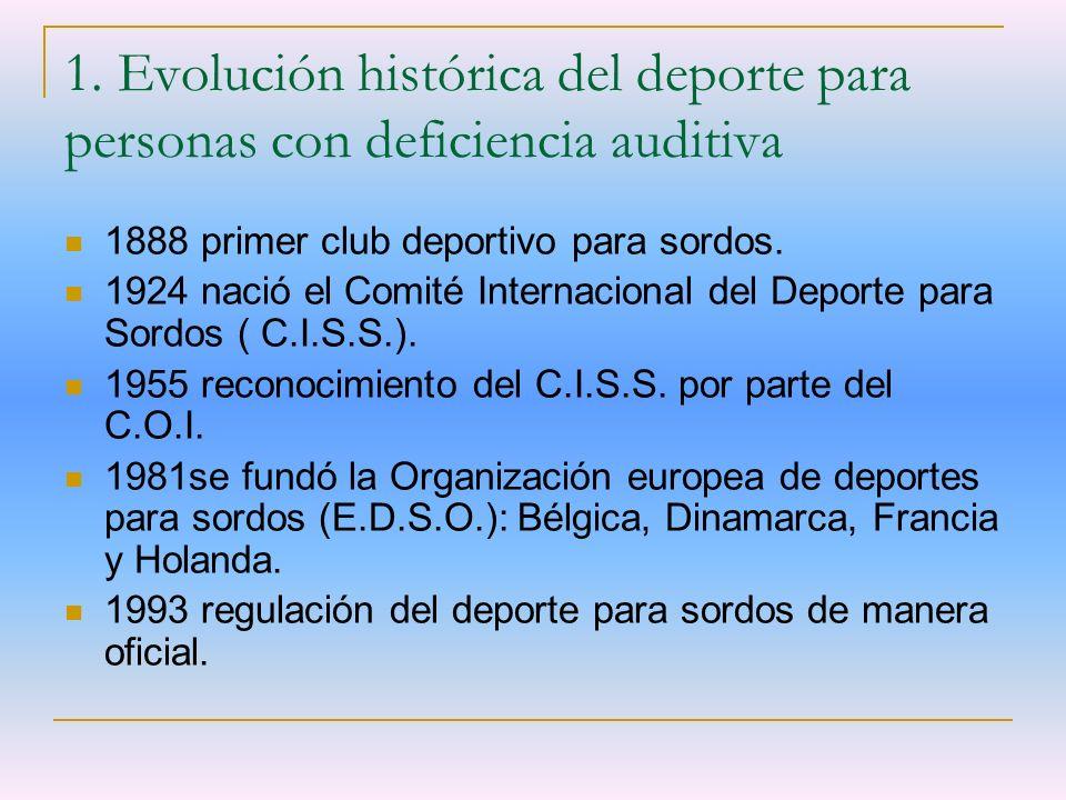 1. Evolución histórica del deporte para personas con deficiencia auditiva 1888 primer club deportivo para sordos. 1924 nació el Comité Internacional d