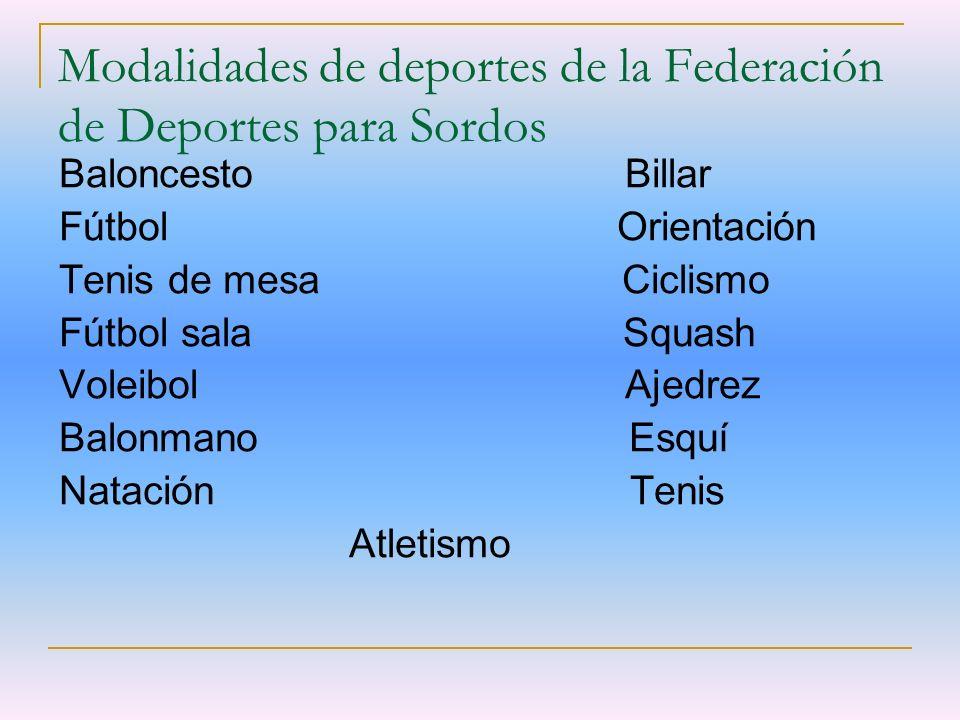 Modalidades de deportes de la Federación de Deportes para Sordos Baloncesto Billar Fútbol Orientación Tenis de mesa Ciclismo Fútbol sala Squash Voleib