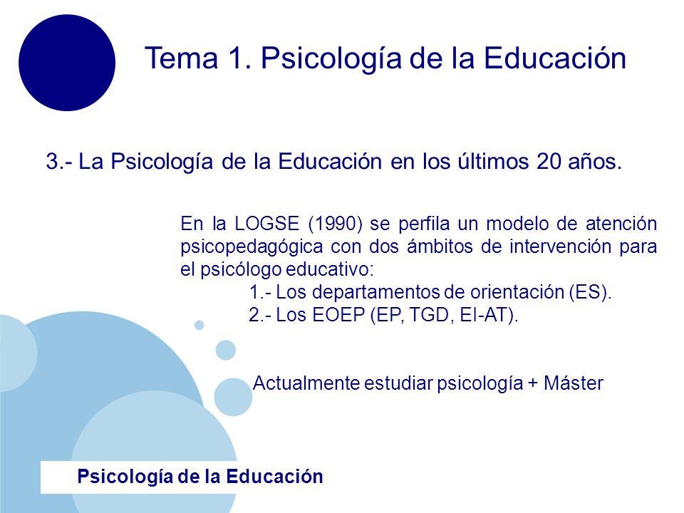 www.company.com Psicología de la Educación Tema 1. Psicología de la Educación 3.- La Psicología de la Educación en los últimos 20 años. En la LOGSE (1