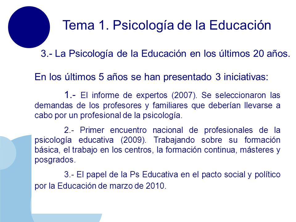 www.company.com Tema 1. Psicología de la Educación 3.- La Psicología de la Educación en los últimos 20 años. En los últimos 5 años se han presentado 3