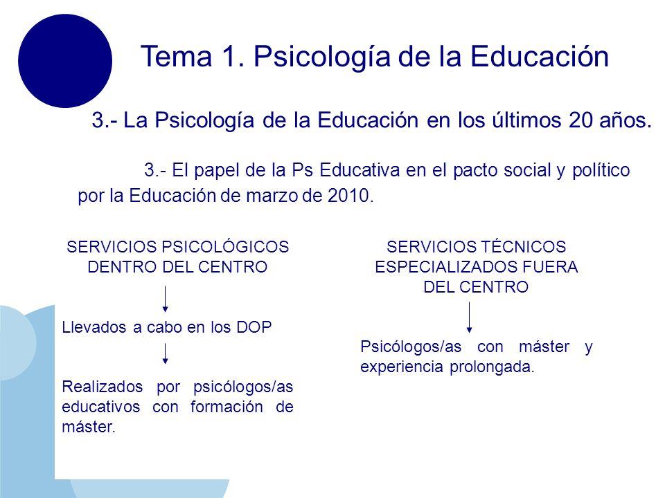 www.company.com Tema 1. Psicología de la Educación 3.- La Psicología de la Educación en los últimos 20 años. 3.- El papel de la Ps Educativa en el pac