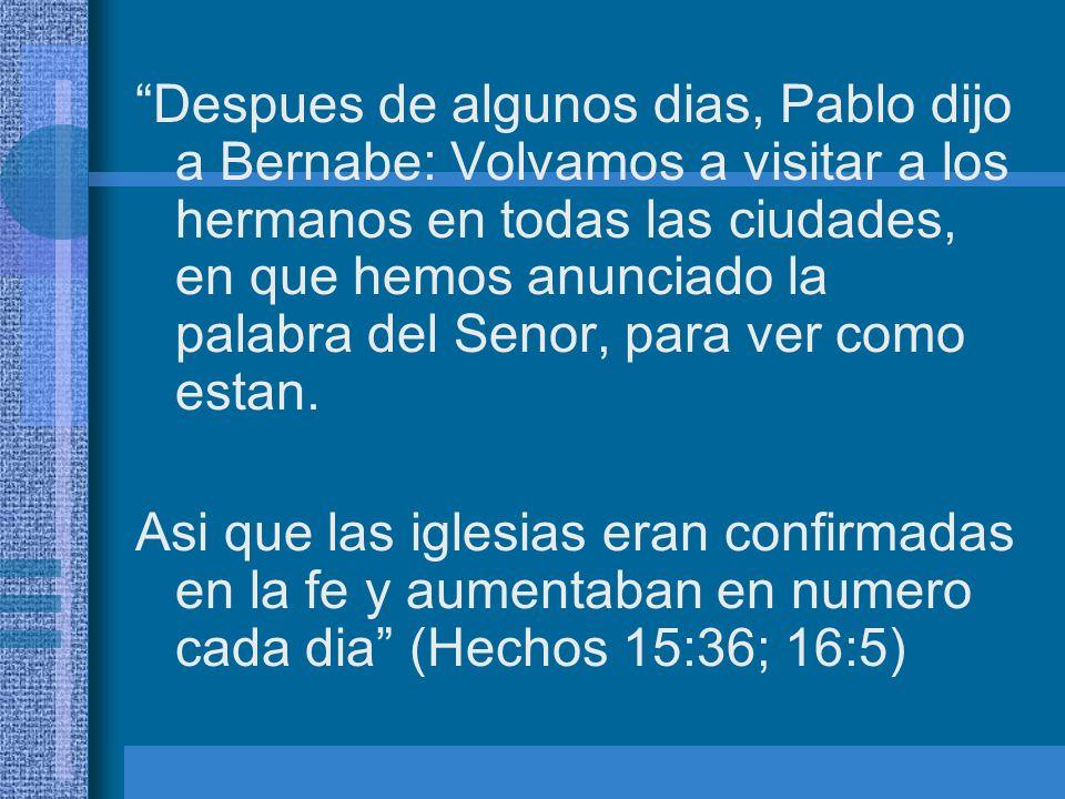 Despues de algunos dias, Pablo dijo a Bernabe: Volvamos a visitar a los hermanos en todas las ciudades, en que hemos anunciado la palabra del Senor, p