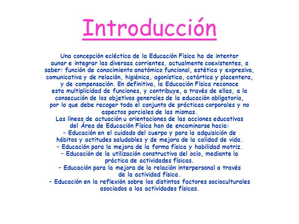 Introducción Una concepción ecléctica de la Educación Física ha de intentar aunar e integrar las diversas corrientes, actualmente coexistentes, a sabe