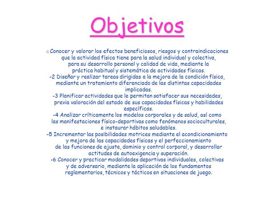 Objetivos -1 Conocer y valorar los efectos beneficiosos, riesgos y contraindicaciones que la actividad física tiene para la salud individual y colecti