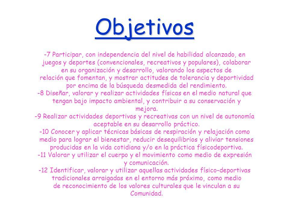 Objetivos -7 Participar, con independencia del nivel de habilidad alcanzado, en juegos y deportes (convencionales, recreativos y populares), colaborar