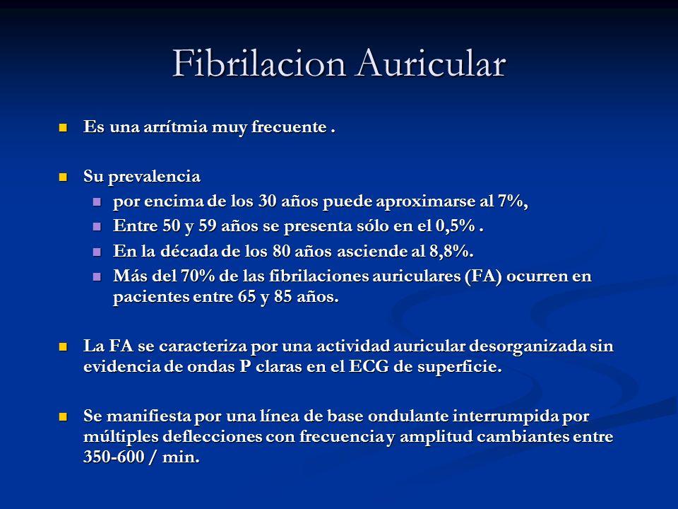 Fibrilacion Auricular Es una arrítmia muy frecuente. Es una arrítmia muy frecuente. Su prevalencia Su prevalencia por encima de los 30 años puede apro