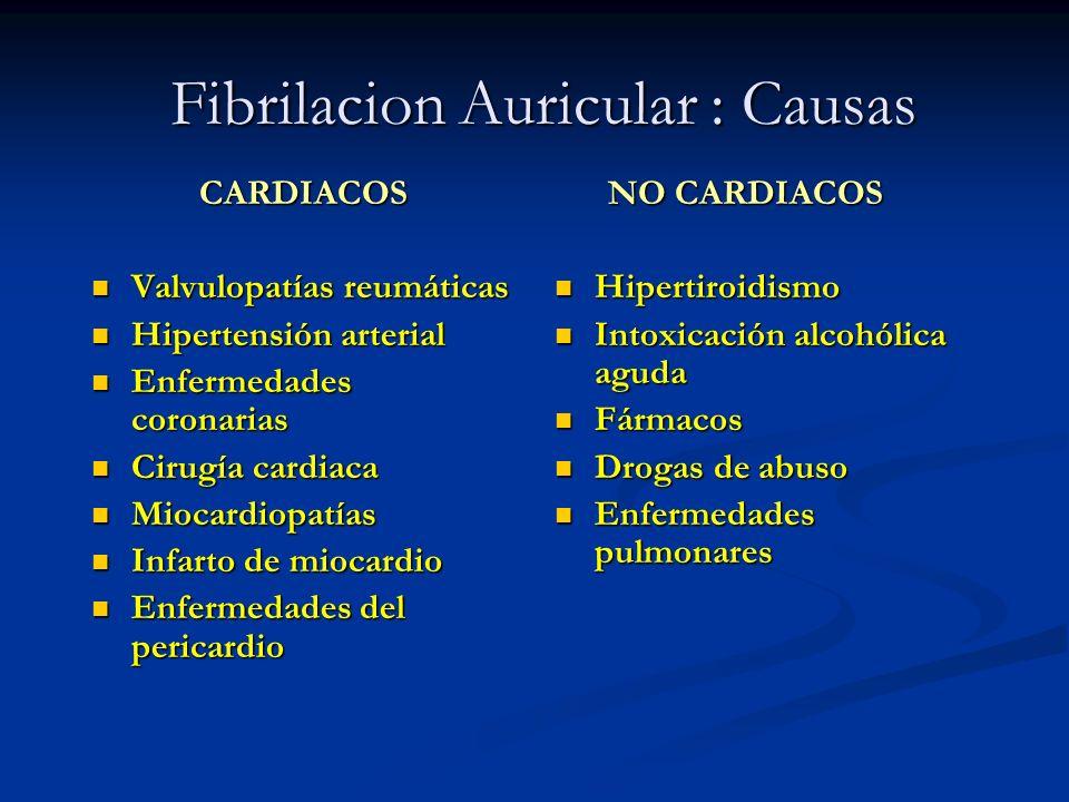 Fibrilacion Auricular : Causas CARDIACOS Valvulopatías reumáticas Valvulopatías reumáticas Hipertensión arterial Hipertensión arterial Enfermedades co