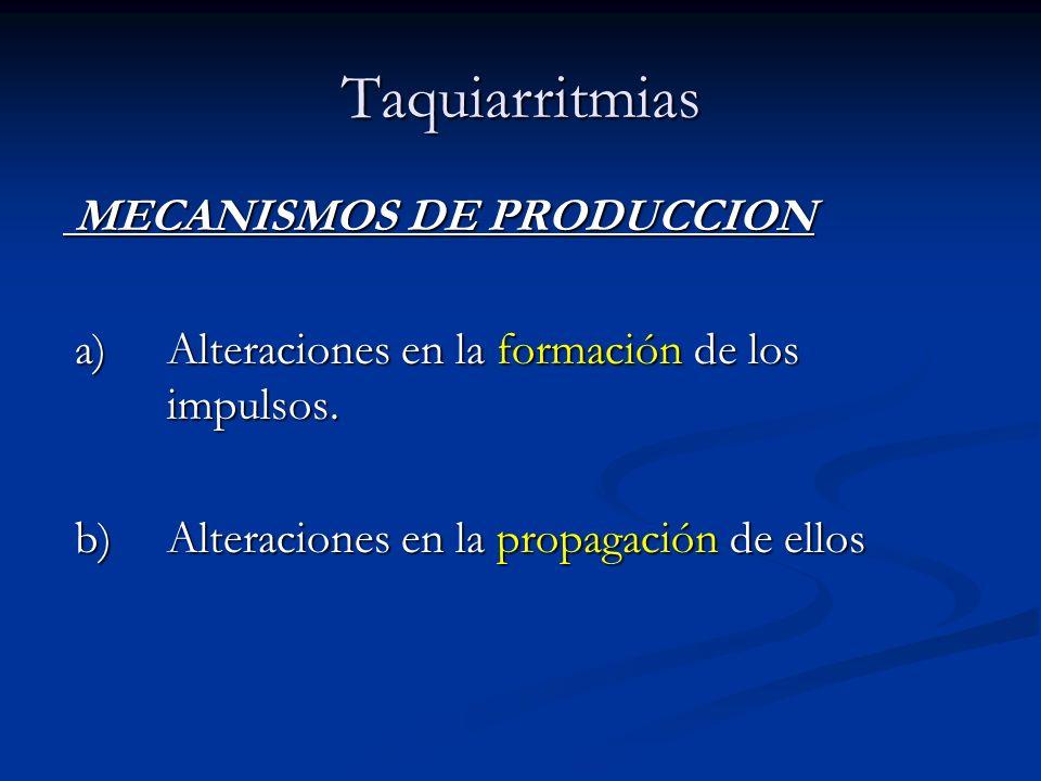 Taquiarritmias MECANISMOS DE PRODUCCION MECANISMOS DE PRODUCCION a) Alteraciones en la formación de los impulsos. a) Alteraciones en la formación de l