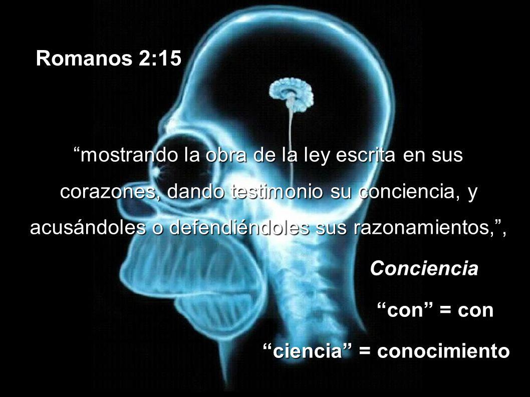 Romanos 2:15 mostrando la obra de la ley escrita en sus corazones, dando testimonio su conciencia, y acusándoles o defendiéndoles sus razonamientos,,m