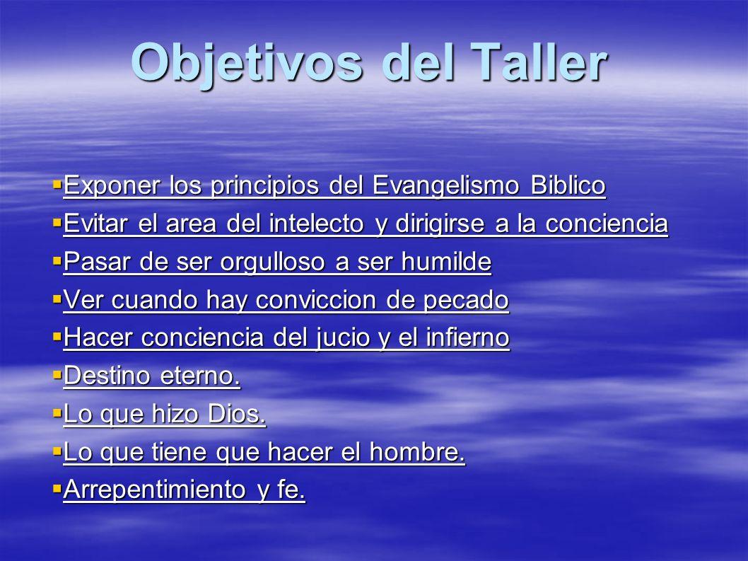 Objetivos del Taller Exponer los principios del Evangelismo Biblico Exponer los principios del Evangelismo Biblico Evitar el area del intelecto y diri