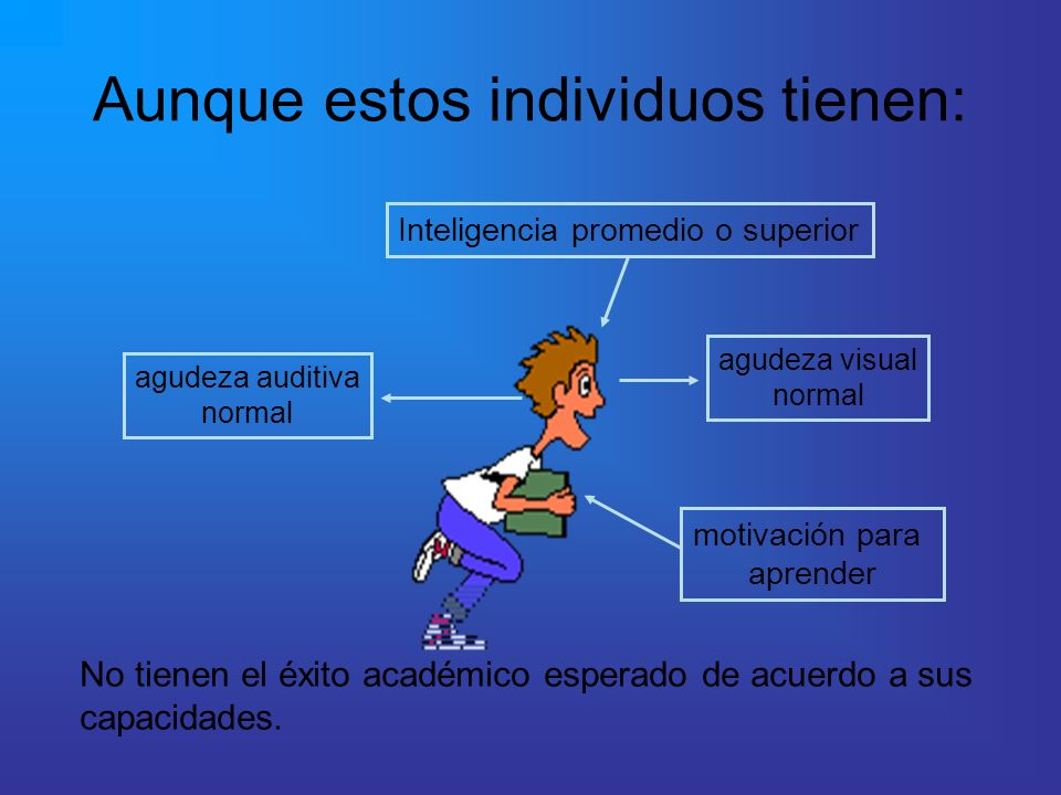 Aunque estos individuos tienen: agudeza visual normal agudeza auditiva normal Inteligencia promedio o superior motivación para aprender No tienen el é
