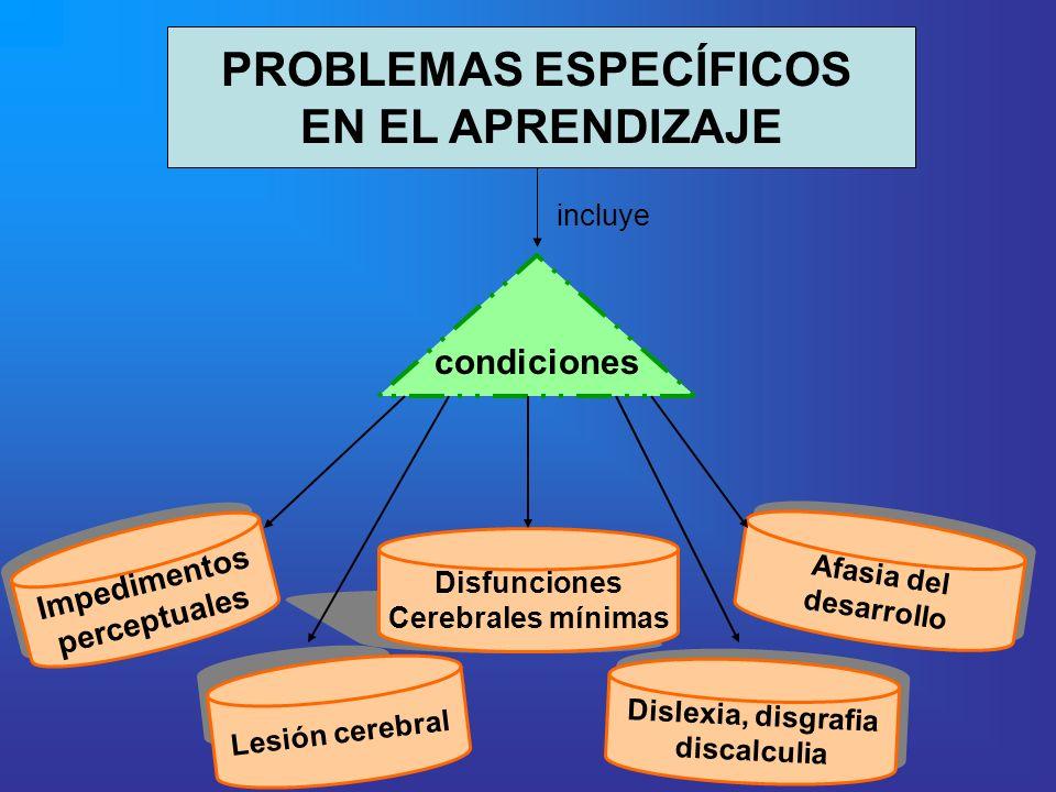 PROBLEMAS ESPECÍFICOS EN EL APRENDIZAJE condiciones Impedimentos perceptuales Impedimentos perceptuales Lesión cerebral Disfunciones Cerebrales mínima
