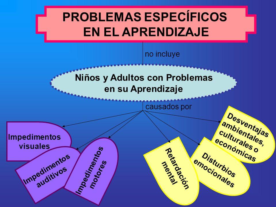 PROBLEMAS ESPECÍFICOS EN EL APRENDIZAJE Niños y Adultos con Problemas en su Aprendizaje Impedimentos visuales Impedimentos auditivos Desventajas ambie
