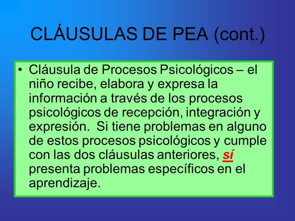 Cláusula de Procesos Psicológicos – el niño recibe, elabora y expresa la información a través de los procesos psicológicos de recepción, integración y