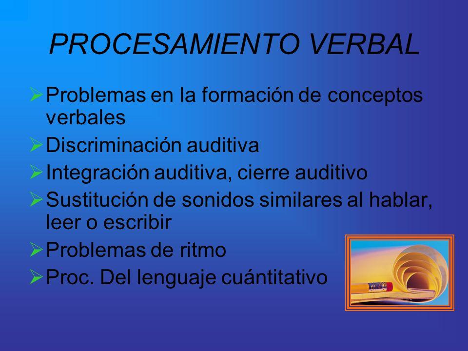 PROCESAMIENTO VERBAL Problemas en la formación de conceptos verbales Discriminación auditiva Integración auditiva, cierre auditivo Sustitución de soni