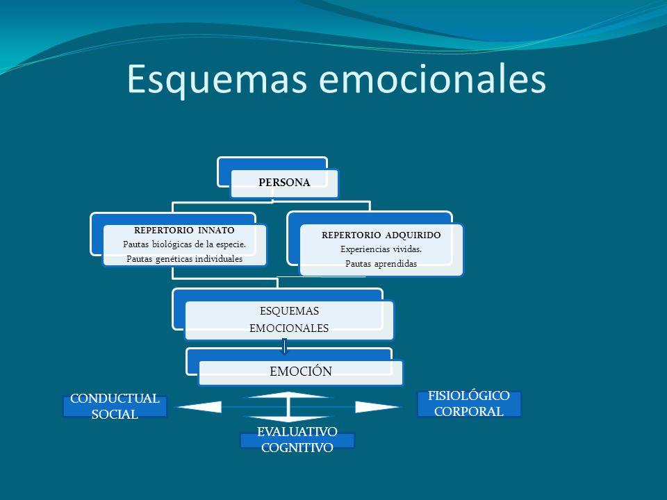 Esquemas emocionales PERSONA REPERTORIO INNATO Pautas biológicas de la especie. Pautas genéticas individuales ESQUEMAS EMOCIONALES REPERTORIO ADQUIRID