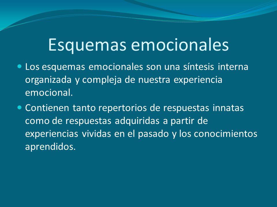 Esquemas emocionales Los esquemas emocionales son una síntesis interna organizada y compleja de nuestra experiencia emocional. Contienen tanto reperto