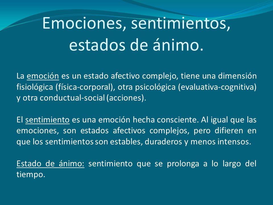Emociones, sentimientos, estados de ánimo. La emoción es un estado afectivo complejo, tiene una dimensión fisiológica (física-corporal), otra psicológ
