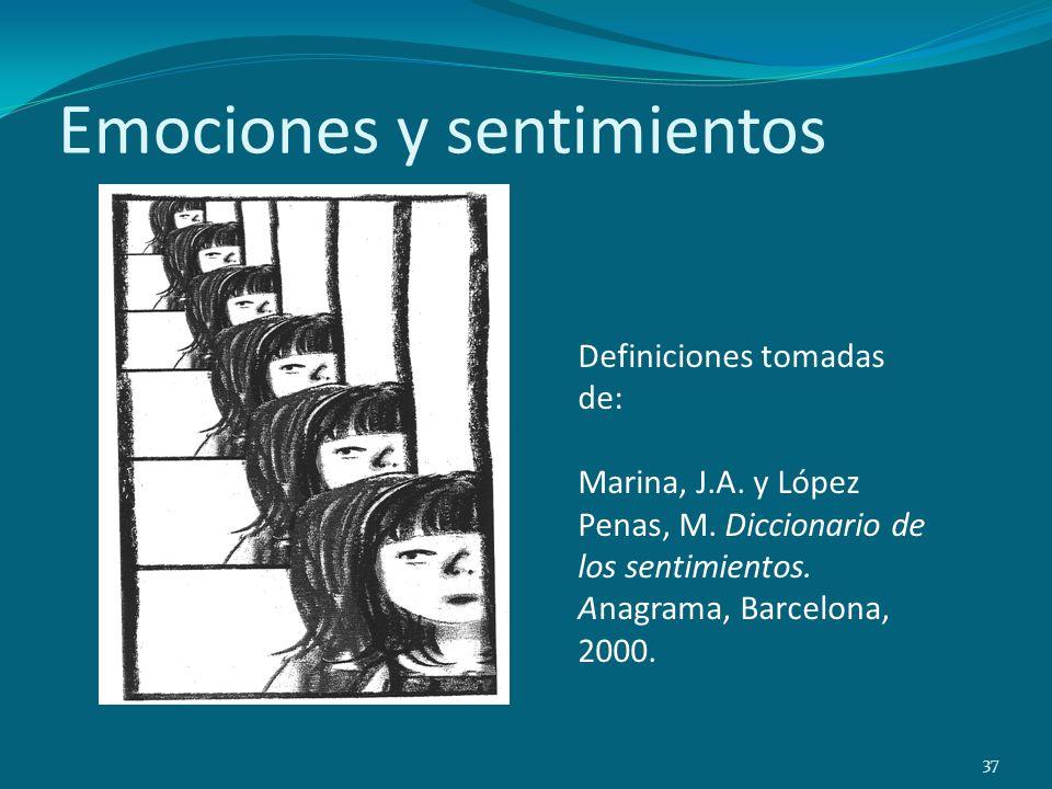 Emociones y sentimientos 37 Definiciones tomadas de: Marina, J.A. y López Penas, M. Diccionario de los sentimientos. Anagrama, Barcelona, 2000.