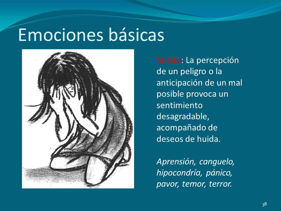 Emociones básicas 38 Miedo: La percepción de un peligro o la anticipación de un mal posible provoca un sentimiento desagradable, acompañado de deseos