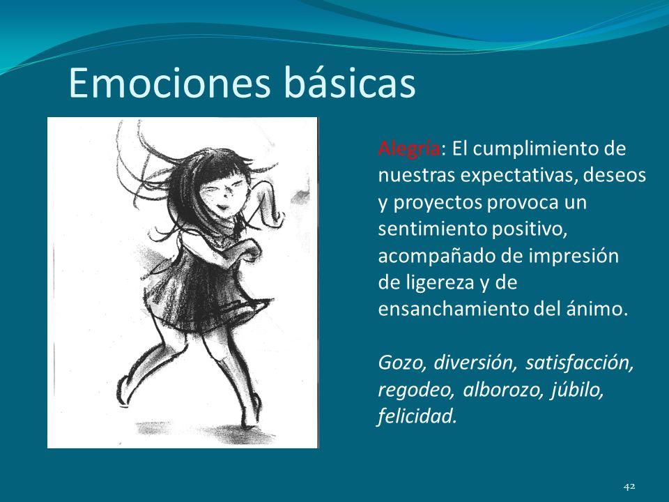 Emociones básicas 42 Alegría: El cumplimiento de nuestras expectativas, deseos y proyectos provoca un sentimiento positivo, acompañado de impresión de
