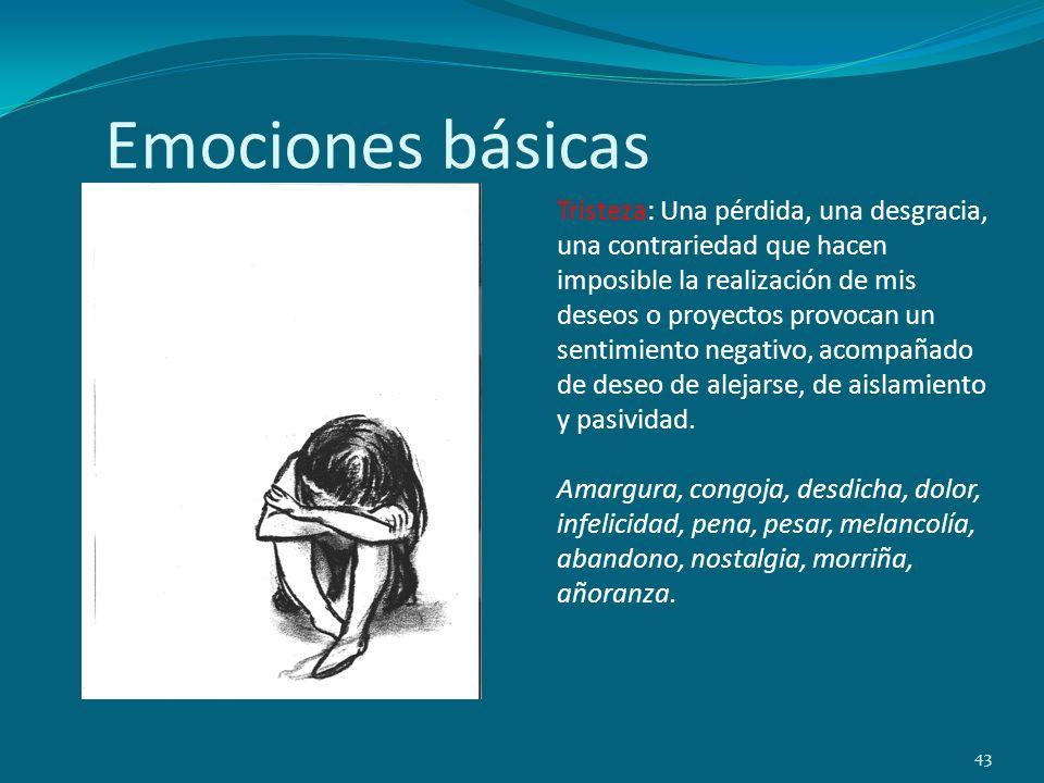 Emociones básicas 43 Tristeza: Una pérdida, una desgracia, una contrariedad que hacen imposible la realización de mis deseos o proyectos provocan un s