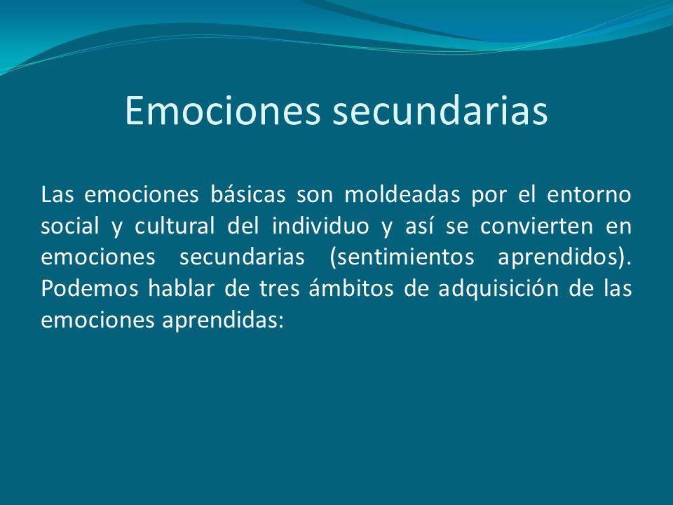 Emociones secundarias Las emociones básicas son moldeadas por el entorno social y cultural del individuo y así se convierten en emociones secundarias
