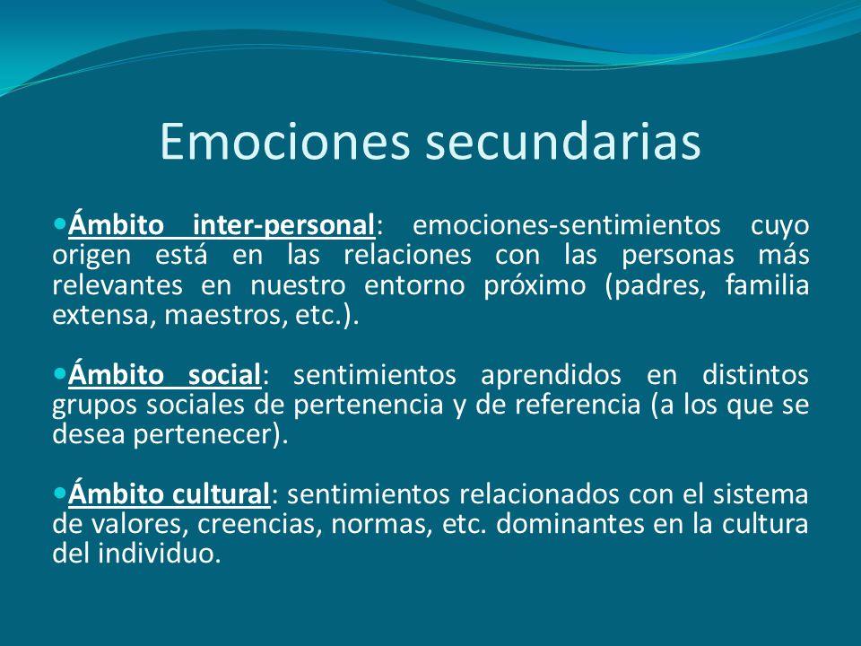 Emociones secundarias Ámbito inter-personal: emociones-sentimientos cuyo origen está en las relaciones con las personas más relevantes en nuestro ento