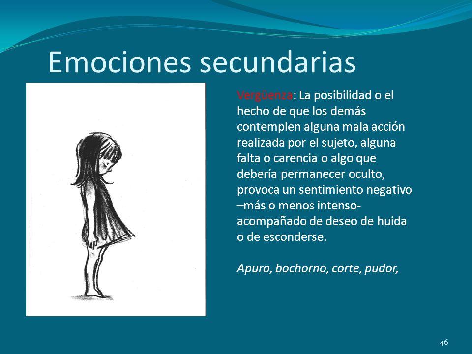 Emociones secundarias 46 Vergüenza: La posibilidad o el hecho de que los demás contemplen alguna mala acción realizada por el sujeto, alguna falta o c