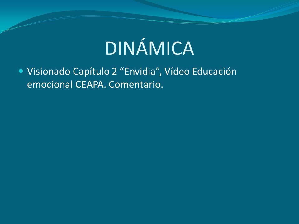 DINÁMICA Visionado Capítulo 2 Envidia, Vídeo Educación emocional CEAPA. Comentario.