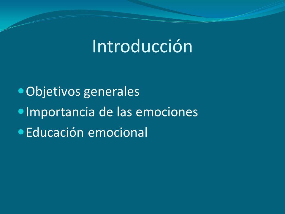 Introducción Objetivos generales Importancia de las emociones Educación emocional