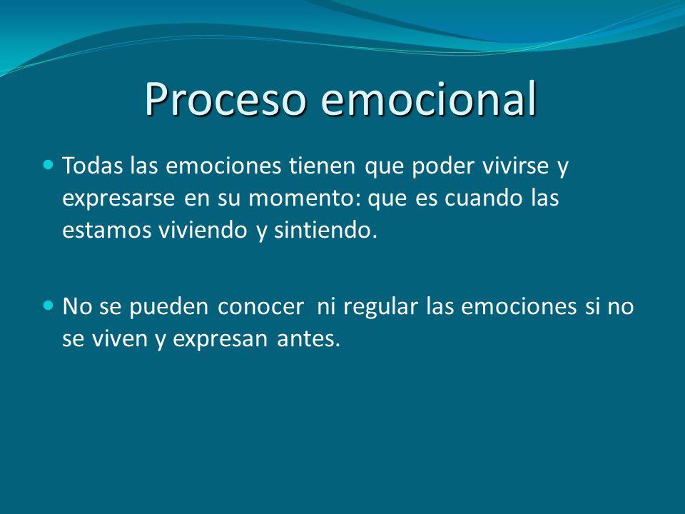 Proceso emocional Todas las emociones tienen que poder vivirse y expresarse en su momento: que es cuando las estamos viviendo y sintiendo. No se puede