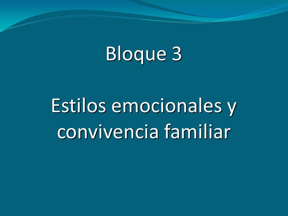 Bloque 3 Estilos emocionales y convivencia familiar