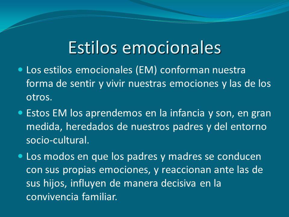 Estilos emocionales Los estilos emocionales (EM) conforman nuestra forma de sentir y vivir nuestras emociones y las de los otros. Estos EM los aprende