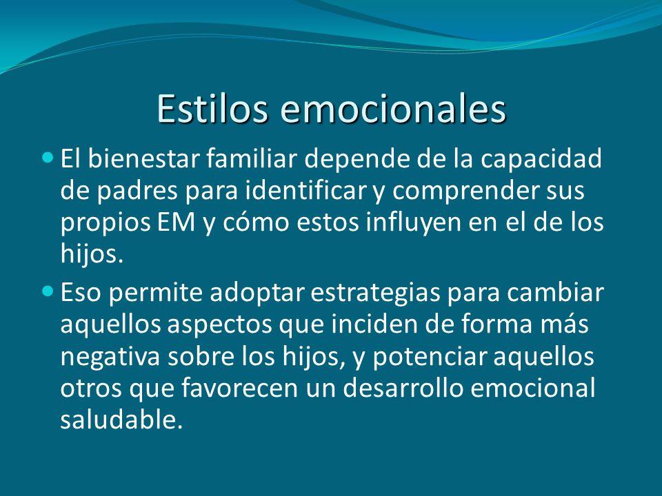 Estilos emocionales El bienestar familiar depende de la capacidad de padres para identificar y comprender sus propios EM y cómo estos influyen en el d