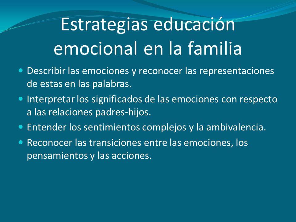 Estrategias educación emocional en la familia Describir las emociones y reconocer las representaciones de estas en las palabras. Interpretar los signi
