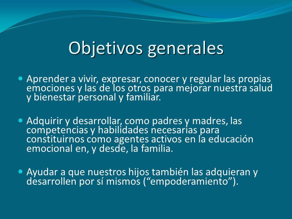 Objetivos generales EDUCACIÓN EMOCIONAL VIVIR LAS EMOCIONES (RE)CONOCERREGULAR COMPETENCIAS INTRAPERSONALES COMPETENCIAS SOCIOEMOCIONALES VIDA PERSONAL Y FAMILIAR SANA Y EN ARMONÍA