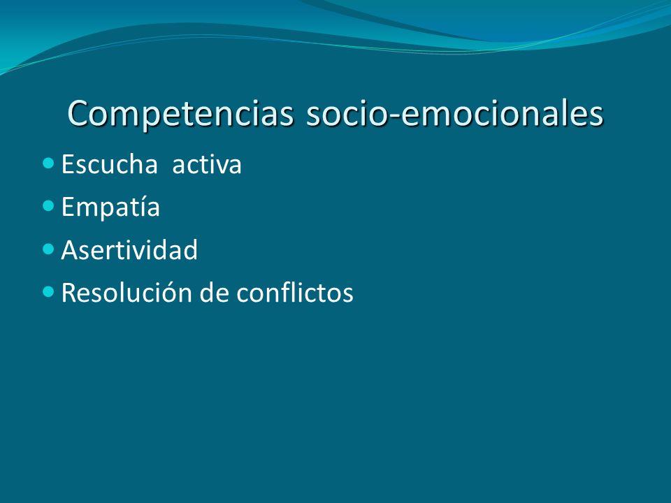 Competencias socio-emocionales Escucha activa Empatía Asertividad Resolución de conflictos