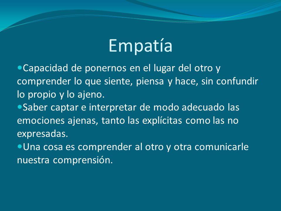 Empatía Capacidad de ponernos en el lugar del otro y comprender lo que siente, piensa y hace, sin confundir lo propio y lo ajeno. Saber captar e inter