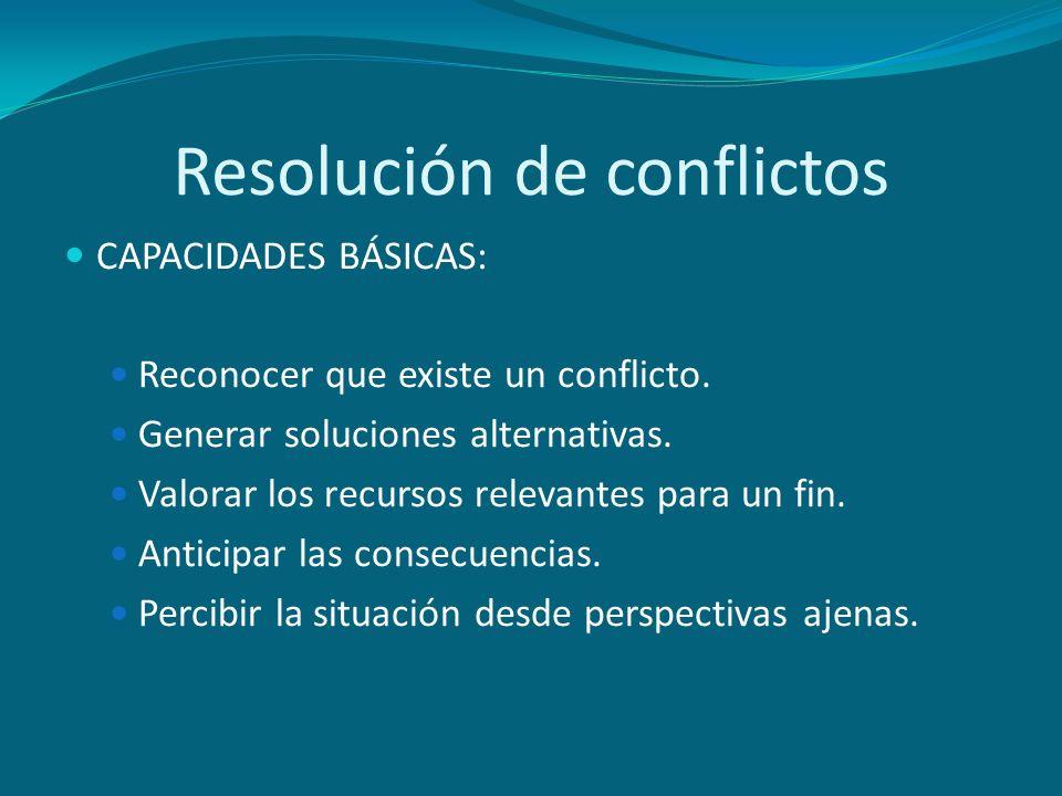 Resolución de conflictos CAPACIDADES BÁSICAS: Reconocer que existe un conflicto. Generar soluciones alternativas. Valorar los recursos relevantes para