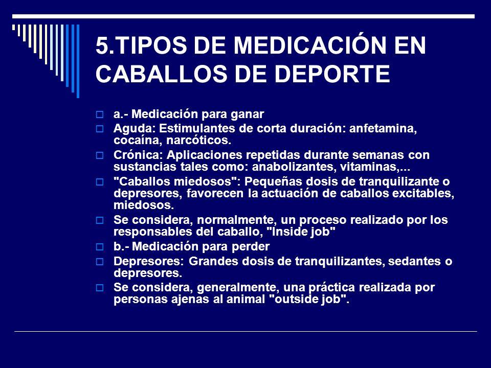 5.TIPOS DE MEDICACIÓN EN CABALLOS DE DEPORTE a.- Medicación para ganar Aguda: Estimulantes de corta duración: anfetamina, cocaína, narcóticos. Crónica