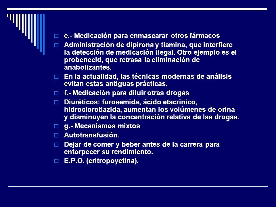 e.- Medicación para enmascarar otros fármacos Administración de dipirona y tiamina, que interfiere la detección de medicación ilegal. Otro ejemplo es