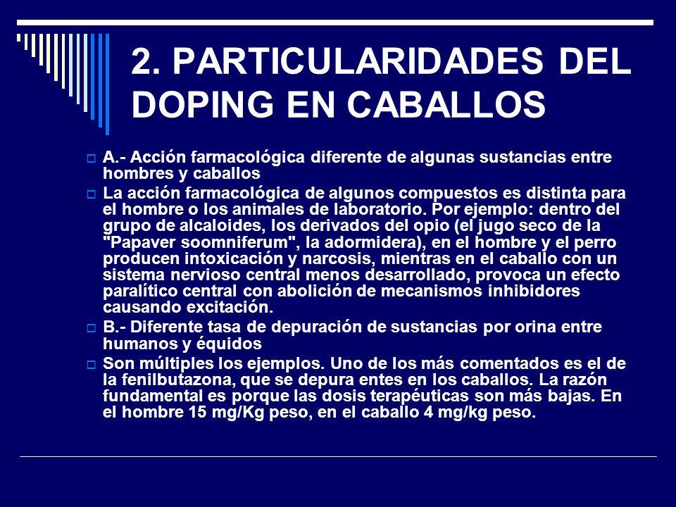 2. PARTICULARIDADES DEL DOPING EN CABALLOS A.- Acción farmacológica diferente de algunas sustancias entre hombres y caballos La acción farmacológica d