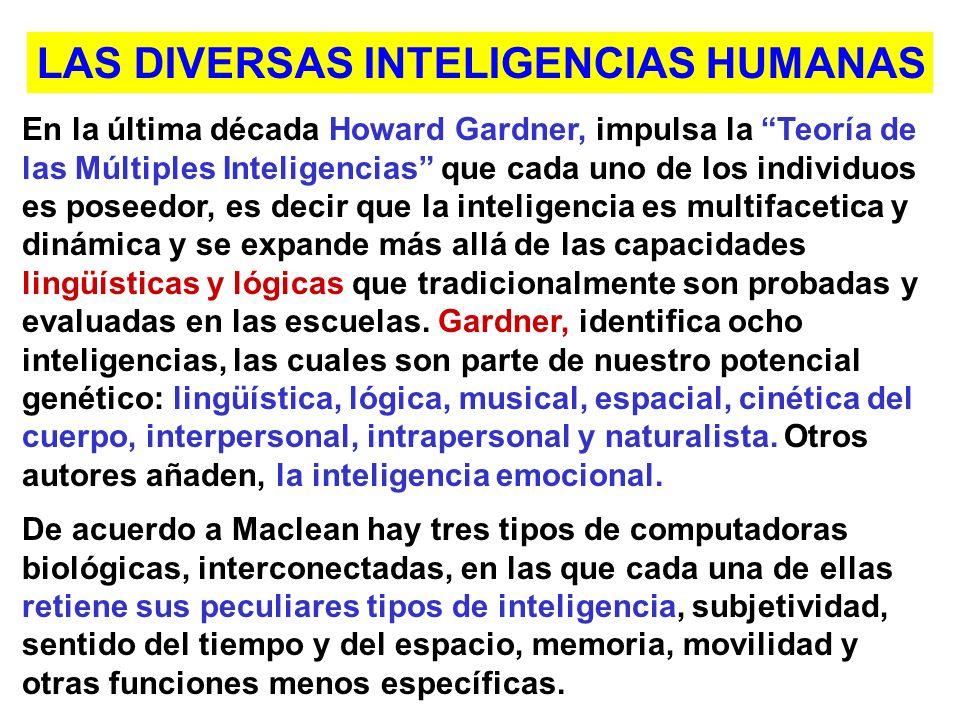 En la última década Howard Gardner, impulsa la Teoría de las Múltiples Inteligencias que cada uno de los individuos es poseedor, es decir que la inteligencia es multifacetica y dinámica y se expande más allá de las capacidades lingüísticas y lógicas que tradicionalmente son probadas y evaluadas en las escuelas.