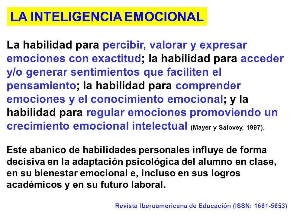 La habilidad para percibir, valorar y expresar emociones con exactitud; la habilidad para acceder y/o generar sentimientos que faciliten el pensamiento; la habilidad para comprender emociones y el conocimiento emocional; y la habilidad para regular emociones promoviendo un crecimiento emocional intelectual (Mayer y Salovey, 1997).