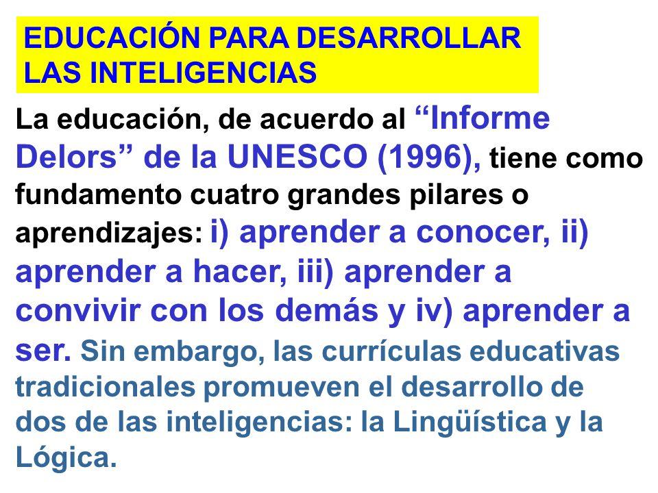 La educación, de acuerdo al Informe Delors de la UNESCO (1996), tiene como fundamento cuatro grandes pilares o aprendizajes: i) aprender a conocer, ii) aprender a hacer, iii) aprender a convivir con los demás y iv) aprender a ser.