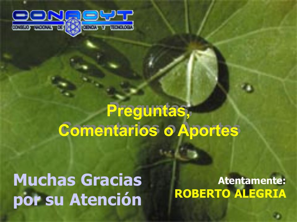 Preguntas, Comentarios o Aportes Atentamente: ROBERTO ALEGRIA Muchas Gracias por su Atención