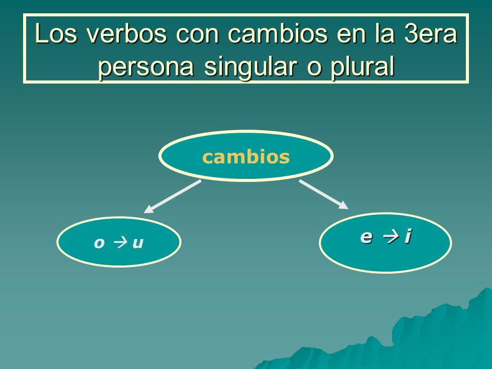 Los verbos con cambios en la 3era persona singular o plural cambios o u e i