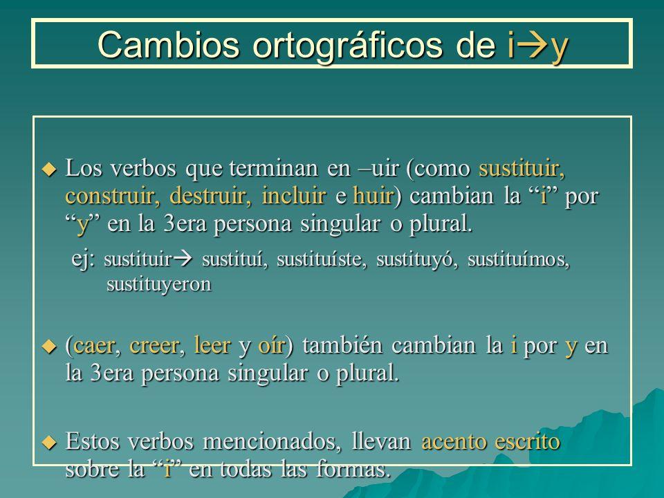 Cambios ortográficos de i y Los verbos que terminan en –uir (como sustituir, construir, destruir, incluir e huir) cambian la i pory en la 3era persona